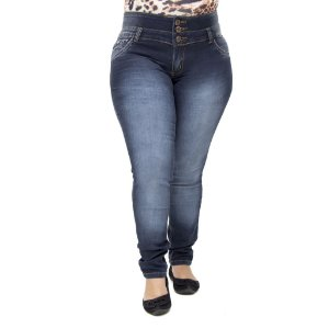 Calça Jeans Feminina Legging Helix Plus Size Cintura Alta Levanta Bumbum