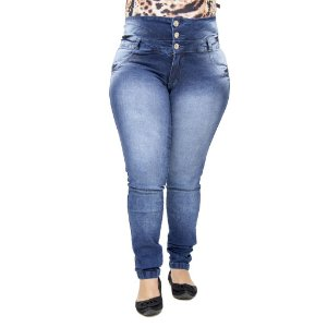 Calça Jeans Legging Feminina Hevox Azul Plus Size Cintura Alta