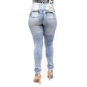 Calça Jeans Feminina Legging Thomix Marmorizada Levanta Bumbum com Elástico