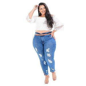 Calça Jeans Cambos Plus Size Clochard Shanaia Azul