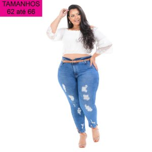 Calça Jeans Cambos Plus Size Clochard Dalvanira Azul