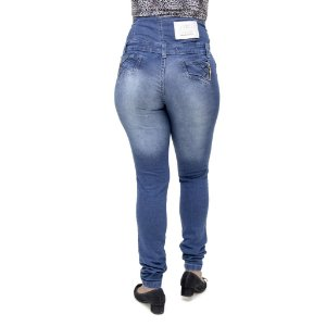 Calça Jeans Feminina Legging Credencial Corpete Azul Cintura Alta