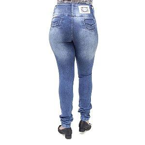 Calça Jeans Feminina Legging Credencial Azul Escura Manchada