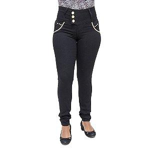 Calça Jeans Feminina Legging Credencial Preta com Elástico e Strass