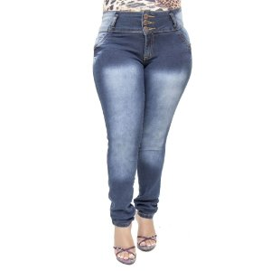 Calça Jeans Feminina Legging Helix Escura Plus Size Cintura Alta