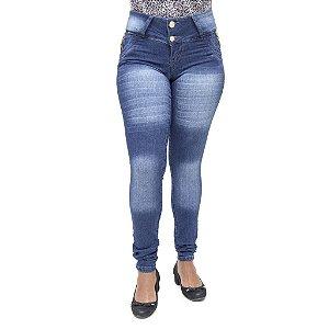 Calça Jeans Feminina Legging Bel Belita Escura Levanta Bumbum