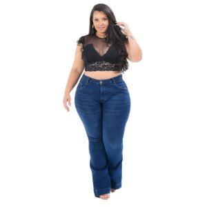 Calça Jeans Cambos Plus Size Flare Fransuely Azul