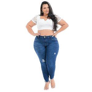 Calça Jeans Cambos Plus Size Capri Vanaci Azul