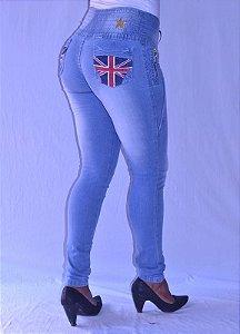 Calça Jeans Legging Meitrix Levanta Bumbum Estampa Inglaterra