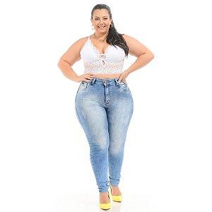 Calça Jeans Xtra Charmy Plus Size Skinny Normelia Azul