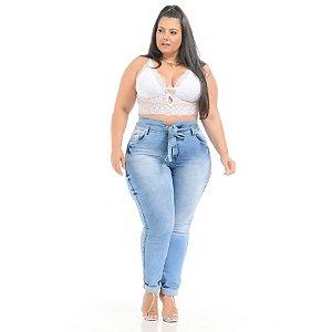 Calça Jeans Xtra Charmy Plus Size Clochard Cinzya Azul