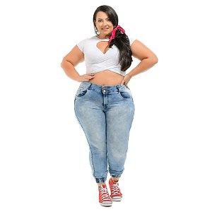Calça Jeans Xtra Charmy Plus Size Skinny Halinni Azul