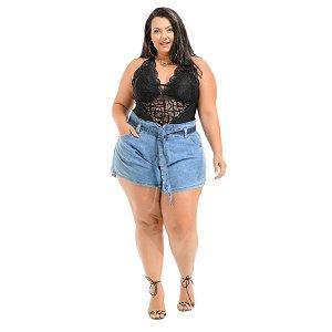 Shorts Jeans Xtra Charmy Plus Size Godê Dulcineya Azul