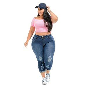 Calça Jeans Potencial Plus Size Capri Queise Azul