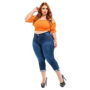 Calça Jeans Potencial Plus Size Capri Criscinaria Azul