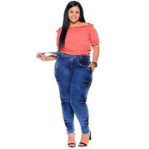 Calça Jeans Latitude Plus Size Skinny Glairy Azul