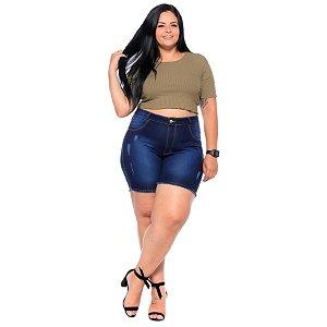 Bermuda Jeans Latitude Plus Size Aurileia Azul