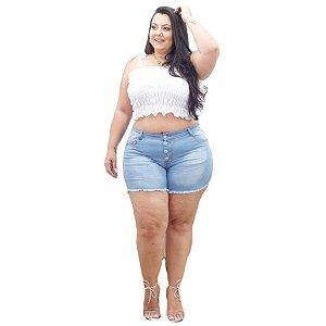 Shorts Jeans Leleh Plus Size Eurinete Azul
