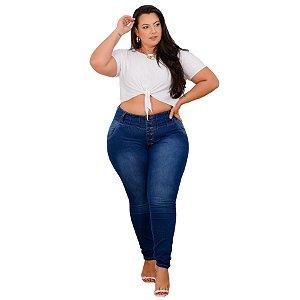 Calça Jeans Leleh Plus Size Skinny Hayna Azul