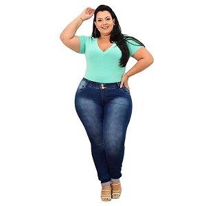 Calça Jeans Leleh Plus Size Skinny Susamar Azul