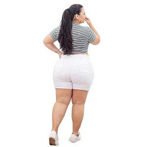 Shorts Jeans Leleh Plus Size Kacia Branco