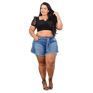 Shorts Jeans Leleh Plus Size Godê Rilian Azul