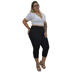 Calça Jeans Cambos Plus Size Capri Jainne Preta