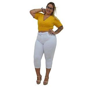 Calça Jeans Cambos Plus Size Capri Gesislaine Branca