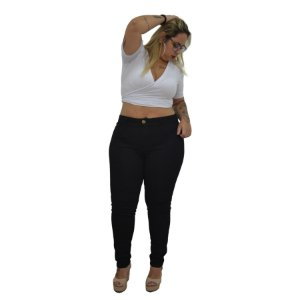 Calça Jeans NForce Plus Size Skinny Margarithe Preta