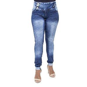 Calça Jeans Feminina Legging Cheris Azul Manchada Levanta Bumbum