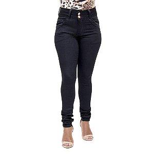 Calça Jeans Feminina Legging Deerf Preta com Cintura Alta