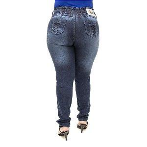 Calça Jeans Feminina Legging Hevox Escura Plus Size Cintura Alta com Elástico