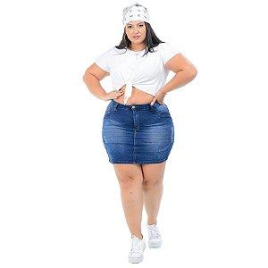 Saia Jeans Potencial Plus Size Wiana Azul