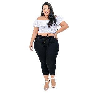 Calça Jeans Latitude Plus Size Jogger Doreane Preta