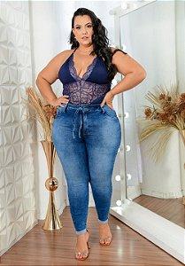 Calça Jeans Deerf Plus Size Skinny Nassara Azul