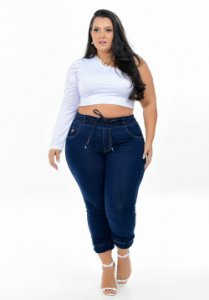 Calça Jeans Xtra Charmy Plus Size Jogger Layde Azul