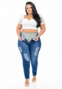 Calça Jeans Xtra Charmy Plus Size Skinny Deviene Azul