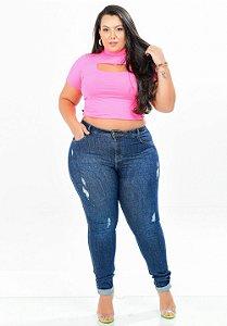 Calça Jeans Xtra Charmy Plus Size Skinny Wedna Azul