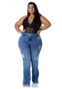 Calça Jeans Ri19 Premium Plus Size Flare Josyere Azul