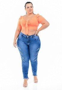 Calça Jeans Latitude Plus Size Skinny Deuzimara Azul