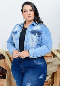 Jaqueta Jeans Xtra Charmy Plus Size Cropped Mere Azul