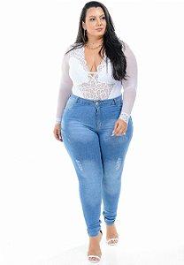 Calça Jeans Hevox Plus Size Skinny Raldina Azul