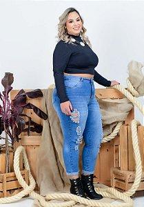 Calça Jeans Helix Plus Size Capri Romanda Azul