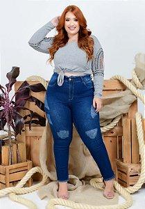 Calça Jeans Helix Plus Size Cigarrete Venoura Azul