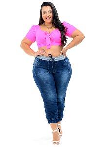 Calça Jeans Xtra Charmy Plus Size Jogger Layfa Azul
