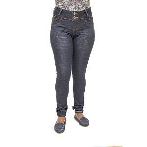 Calça Jeans Feminina Legging Credencial Escura com Bolsos Cintura Alta