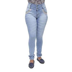 Calça Jeans Feminina Legging Meitrix Azul Manchada com Elástico e Strass