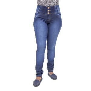 Calça Jeans Feminina Legging Helix Escura com Elástico Levanta Bumbum