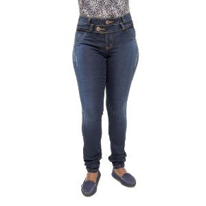 Calça Jeans Feminina Legging Helix Escura Levanta Bumbum com Bolsos