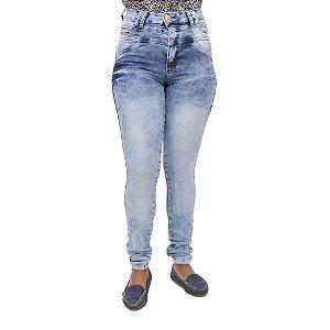 Calça Jeans Feminina Legging Thomix Marmorizada Hot Pants Cintura Alta
